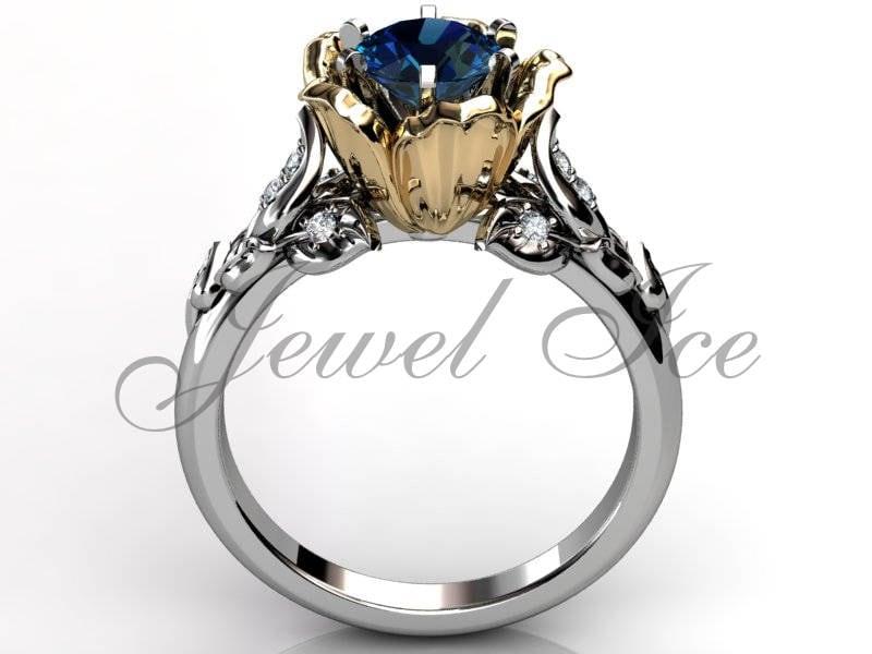 Alexandrite Genuine Diamond Engagement Ring 14k White Yellow Gold