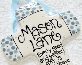 Baby cross etsy personalized baby cross in light blue dots for boys every good and perfect gift is negle Images
