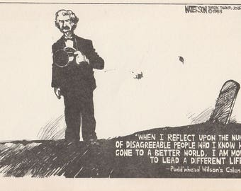 Pudd'nhead Wilson's New Calendar, Mark Twain Vintage Postcard, Twain Wit, Pen and Ink drawing
