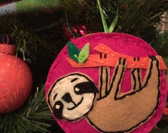 Felt Sloth Ornament