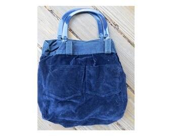 Vintage 1970's blue reversible denim/corduroy Lucite top handle purse bag hippie boho