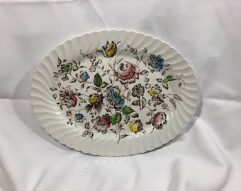 Johnson Brothers Hanley STAFFORDSHIRE BOUQUET Large Oval Platter Vintage Stoneware 14""