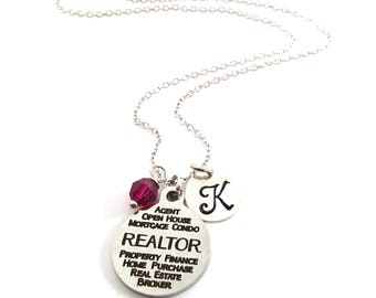 Realtor Necklace - Initial Necklace - Personalized Necklace - Sterling Silver Jewelry - Gift for Her