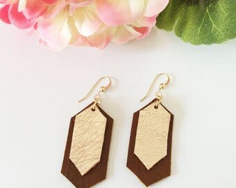 Leather earrings, hexagon earrings, shiny metallic leather, rose gold earrings, neutral colors, metallic leather earrings, framed earrings