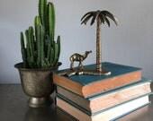 vintage brass camel under palm tree figurine desert boho decor
