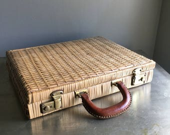 vintage vinyl woven briefcase natural leather details boho