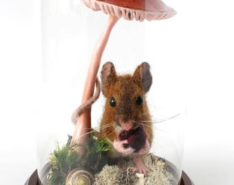 READY TO SHIP,Field Mouse, Little Mouse,Needle Felted Mouse,Glass Dome,Diorama,Exhibit