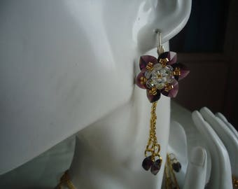 Earrings violet flower hearts