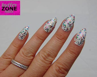 Hand Painted Press On False Nails, White With Rainbow Glitter, Stiletto Long Length