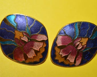 Vintage Flower Purple Enamel Genuine Cloisonne Earrings Art Nouveau  Style 1980s