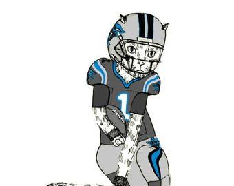 Carolina Panthers Quarterback Cam Newton - football cat - sports art - keep pounding