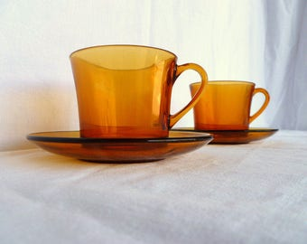Duralex large coffee cups and saucer set of 2, 1970's amber tempered glass