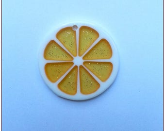 Transparent fruit slice slice pendant x 1 light ORANGE glitter resin