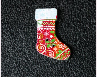 "Wooden Christmas socks buttons ""model 05"" x 1"
