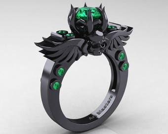 Winged Skull 5K Black Gold 1.0 Ct Emerald Solitaire Engagement Ring R613-5KBGEM