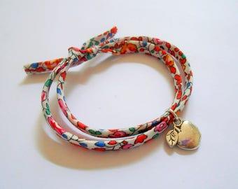 Apple bracelet - apple charm - liberty bracelet - fruit bracelet - summer bracelet - flower liberty bracelet - fruit jewelry - appel