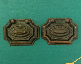Pair of antique brass metal drawer handle pull restoration furniture hardware Victorian farmhouse chinoiserie cottage chic home decor