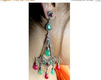 ON SALE 10% OFF Chandeliers  .925 Sterling Silver Vintage Inspired 3.25Ct. Rose Cut Diamond Multistone Earrings