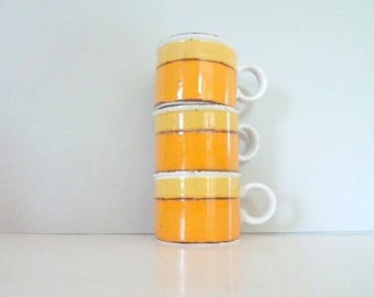 Three Sun Midwinter Stonehenge cups Vintage British Yellow and Orange Cups