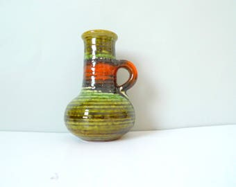 Vintage Carstens Tönnieshof 7908-15 - West German Handled Vase Green Orange