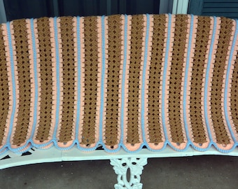 Hand Crochet Afghan - Peach, Brown, Blue - Couch/Bedroom, Warm - Vintage - Fabulous!