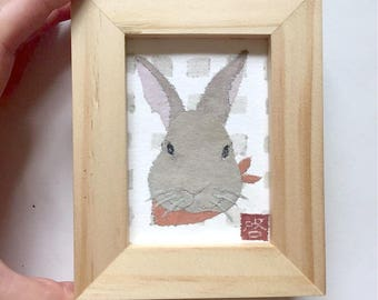 Framed or Unframed Original Brown Rabbit Art, Bunny Art, Bunny Gifts, ACEO
