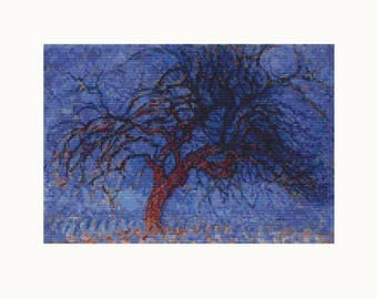Cross Stitch Kit Evening Red Tree by Piet Mondrian, Tree Cross Stitch, Embroidery Kit, Needlework DIY Kit (PIET02)