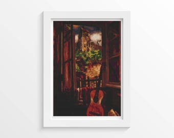 Music Cross Stitch Kit, Interior with a Guitar Cross Stitch, Embroidery Kit, Art Cross Stitch, Henri Le Fauconnier (FAUCO01)