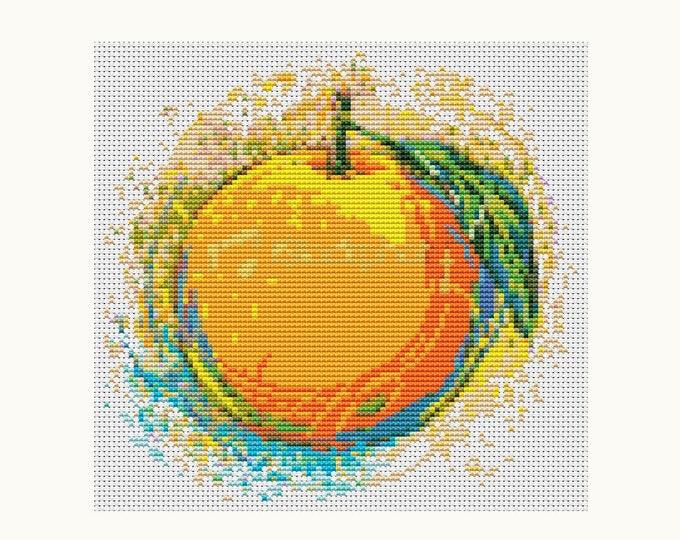 Mini Cross Stitch Pattern PDF, Embroidery Chart, Art Cross Stitch, Kitchen Series: Very Orange (TAS033)