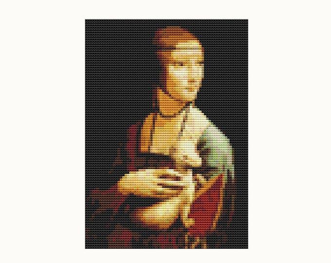 Lady with an Ermine by Leonardo da Vinci by Medieval Cross Stitch by Art Cross Stitch by Instant Download (TAS136)