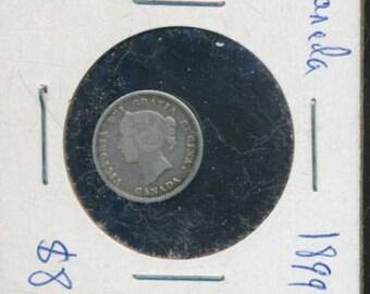 Canada 1899 5 Cents Silver Victoria