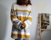 Mustard and Honey Pullover, Knitting Pattern, Top Down Sweater, Summer Knitting