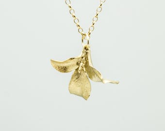 Waimea leaf necklace- gold plated sterling silver
