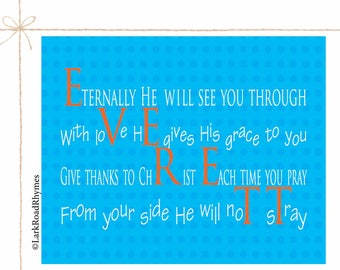 Christening Gift For A Baby Boy Baptism Art Personalized Custom Baby Baptism Gifts Blessing Gift For Godchild Baptism Poem 8x10 Everett