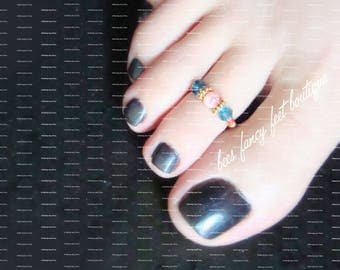 Toe Ring | Blue Green Crystals | Pink Vein Stone | Stretch Bead Toe Ring