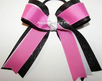 Gymnastics Bow, Sparkly Gymnastic Clip, Pink Black White Gymnast Hair Ties Elastics, Glittery Pink Black Dance Cheer Bows, Bulk Cheap Price