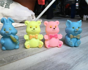 Vintage Rubber Yellow Bear, Pink Bear, Blue Cat and Pink Bear Baby Toys