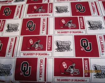 University of Oklahoma fabric  Sold by the YARD Go Sooners