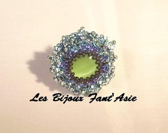 """Embroidered """"The Blueberry"""" ring on adjustable Japanese beads and green cat's eye cabochon"""