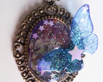 Necklace fairy Galaxy butterfly and brass