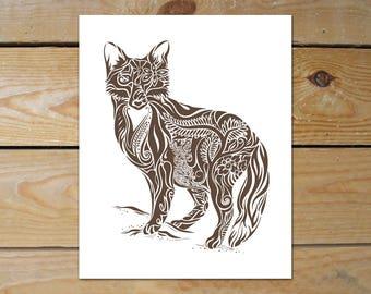 Fox Art Print, Fox Lover Gift 8x10 Print // Fox Print Men // Abstract Fox Print, Fox Illustration // Rustic Modern Wall Art