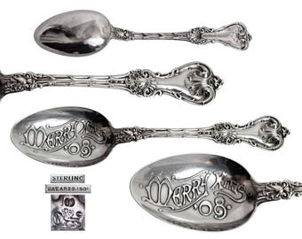 Antique Sterling Silver Whiting Mfg King Edward Merry Xmas 08 Souvenir Spoon