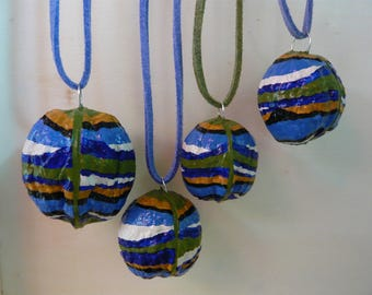 Lightweight painted natural shell pendant