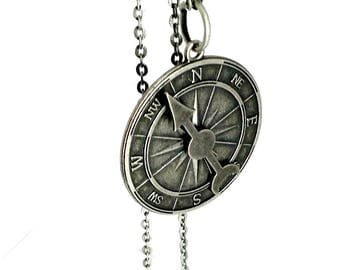 Compass Necklace silver arrow necklace Handmade Gift