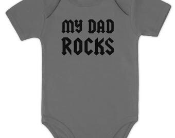 My Dad Rocks Baby Bodysuit Cool Punk Rock Grow Vest Shower Gift Fathers Day Gift - Fathers Day Gift