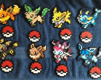 Pokemon Eeveelutions Eevee Jolteon Leafeon Sylveon Flareon Vaporeon Umbreon Glaceon Figure Perler 8 Bit