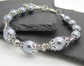 Silver Grey Wedding Bracelet, Bridesmaid Jewellery, Bridal Party Gift, Grey Silver Wedding, Bridal Jewellery