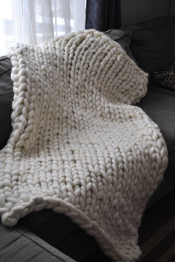 Chunky Knit Blanket, Merino Wool, Handmade, Arm Knit, Roving Merino Wool