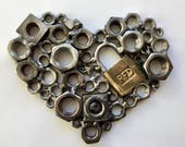 """Metal heart with lock, 7"""" x 5"""", wall art/welded steel heart sculpture/silver/lock/recycled/romantic/gift for him her/Valentines/romantic"""