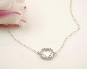 Simple Delicate Silver Necklace // Clear Crystal Jewelry // Cheap Bridesmaid Gift Ideas